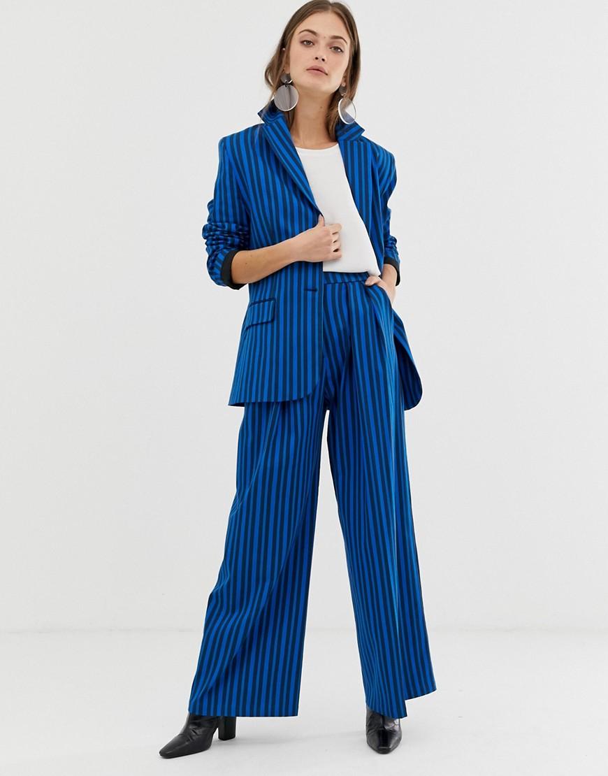 asos white - Hose mit farblich abgestimmtem Streifendesign - Blau