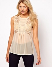 ASOS Sleeveless Blouse With Lace Inserts And Pintucks