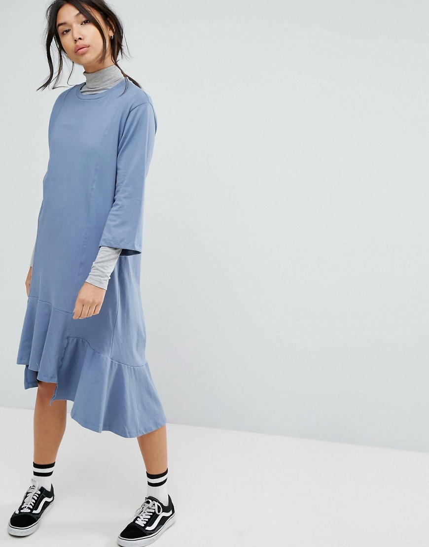 STYLENANDA Drop Waist Smock Dress - Blue