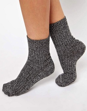 Image 1 ofASOS Mix Knit Ankle Sock