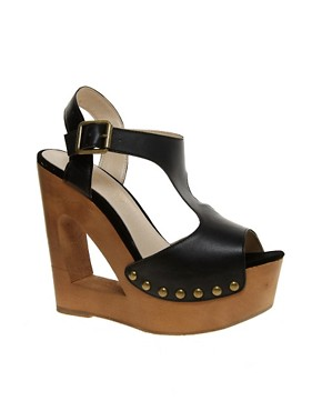 Image 1 of ALDO Baraby Cut Out T Bar Wedge Sandals