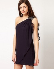 French Connection One Shoulder Drape Dress In Silk
