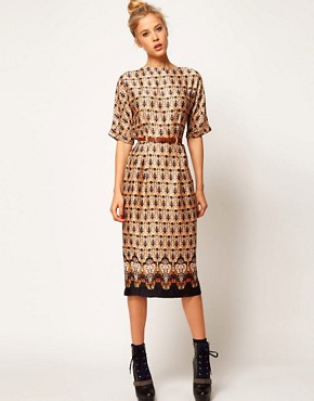 Image 1 ofASOS Wiggle Dress In Vintage Wallpaper Print