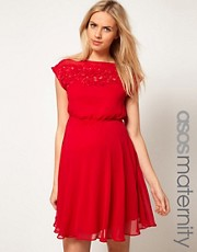 ASOS Maternity Lace Insert Skater Dress