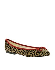 French Sole India Leopard Pony Ballet Flats