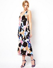 Traffic People Ink Print Vest Midi Dress