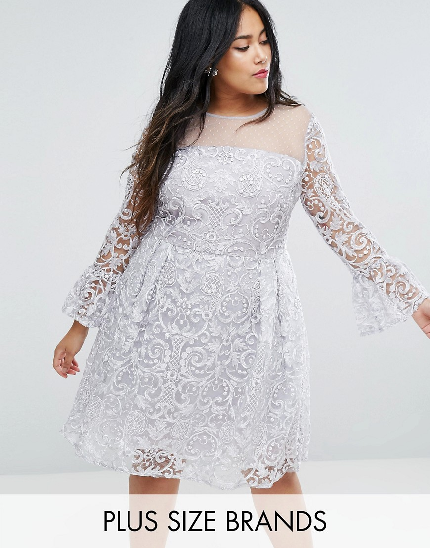 Truly You All Over Embroidered Midi Skater Dress With Fluted Sleeve Detail - Silver