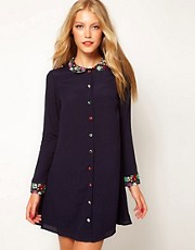 ASOS Swing Dress with Floral Collar