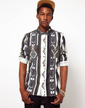 Image 1 ofASOS Brushed Shirt With Printed Stripe