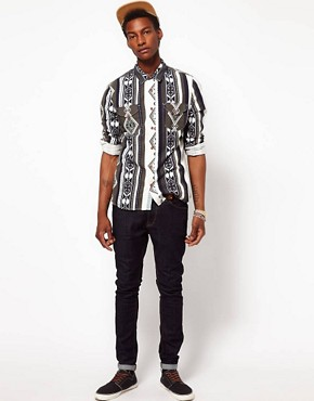 Image 4 ofASOS Brushed Shirt With Printed Stripe