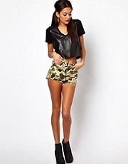 Motel Dora Denim Shorts Camo Print