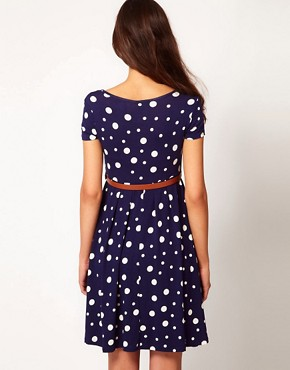 Image 2 ofASOS Maternity Skater Dress In Spot With Belt