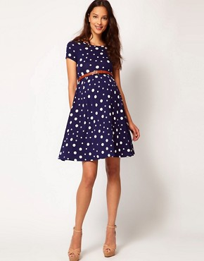 Image 4 ofASOS Maternity Skater Dress In Spot With Belt