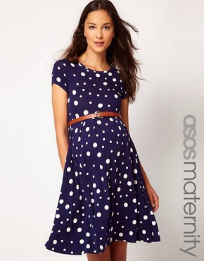 Image 1 ofASOS Maternity Skater Dress In Spot With Belt