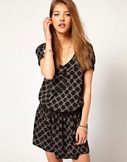 Maison Scotch Printed Dress with Dropped Waist