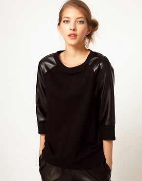 Image 1 ofLulu and Co Studio Sweatshirt with Leatherette Panels