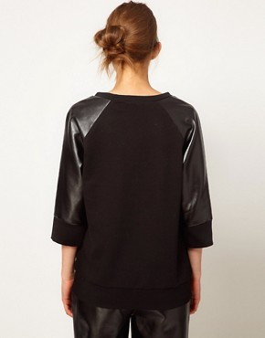 Image 2 ofLulu and Co Studio Sweatshirt with Leatherette Panels