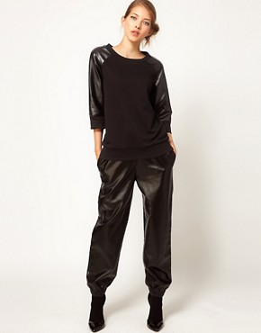 Image 4 ofLulu and Co Studio Sweatshirt with Leatherette Panels