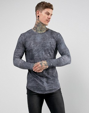 Religion Long Sleeve T-Shirt With Curved Back Hem In Grey Texture
