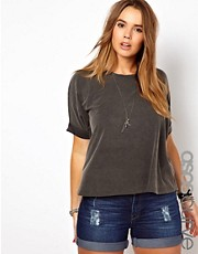 ASOS CURVE Square T-Shirt In Acid Wash