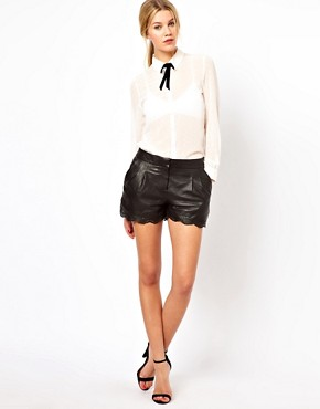 Image 1 ofOasis Leather Shorts With Punched Cut Out Edge