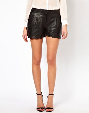Image 4 ofOasis Leather Shorts With Punched Cut Out Edge