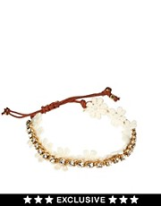 Pulsera de la amistad con detalles de strass y cadena con margaritas exclusiva para ASOS de Orelia