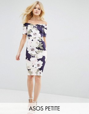 ASOS PETITE Bardot Off Shoulder Midi Bodycon Dress in Pretty Floral