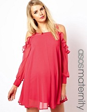 ASOS Maternity Swing Dress with Cut Out Shoulder and Ruffle