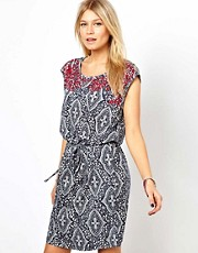 Oasis Embellished Tile Print Dress
