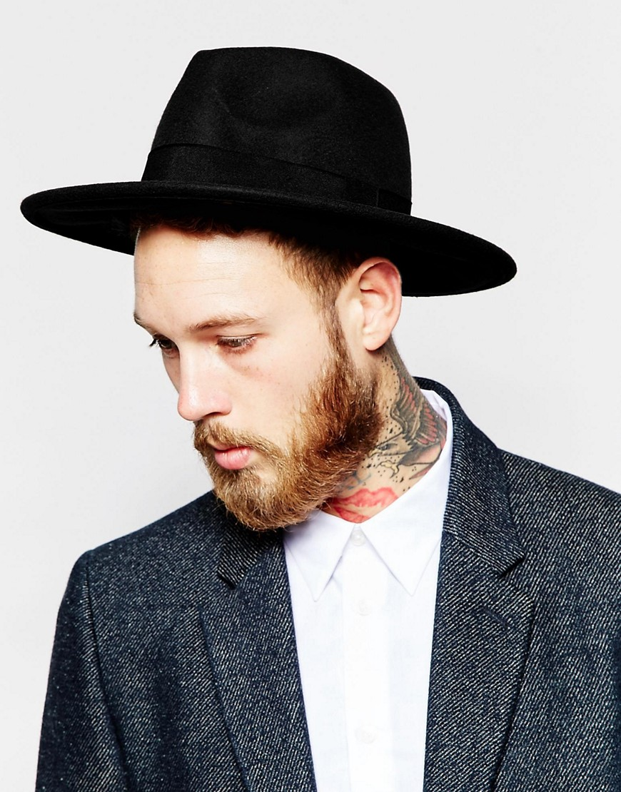 ASOS Fedora Hat In Black Felt