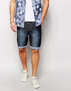 Threadbare Dark Wash Denim Contrast Shorts