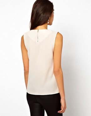 Image 2 ofASOS Sleeveless Top With Pleat Neck