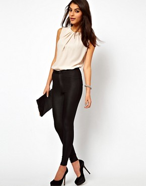 Image 4 ofASOS Sleeveless Top With Pleat Neck