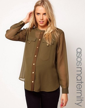 Image 1 ofASOS Maternity Military Blouse