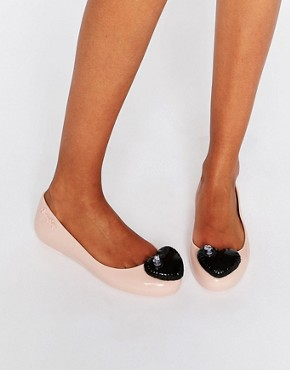 Melissa + Jeremy Scott Space Love Nude Contrast Heart Flat Shoes