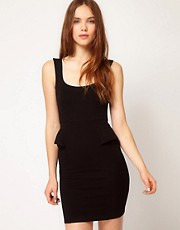 Warehouse Peplum Ponte Dress
