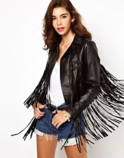 ASOS Fringed Leather Jacket