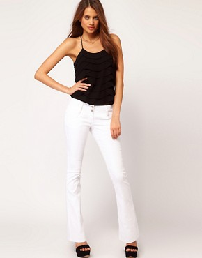 Image 1 ofASOS Super Sexy Flare Jeans in White #17