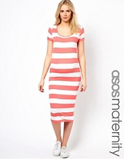 ASOS Maternity Exclusive Midi Dress in Wide Stripe and Cap Sleeve