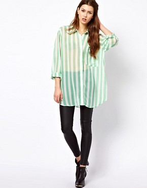 Image 4 ofGlamorous Long Line Sheer Shirt