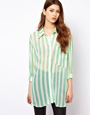 Image 1 ofGlamorous Long Line Sheer Shirt