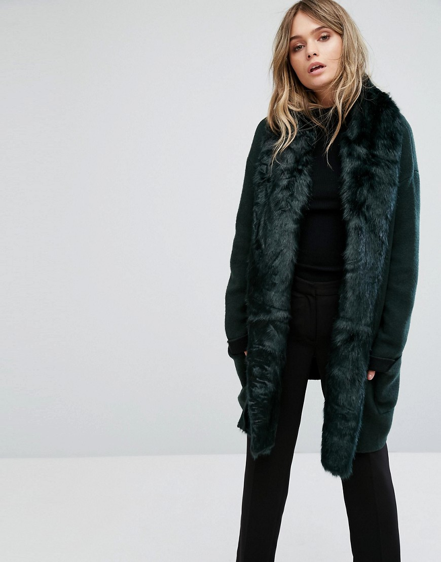 French Connection Oversized Knitted Jacket With Faux Fur Trim - Ink green