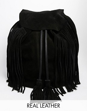 ASOS Suede Festival Fringed Backpack