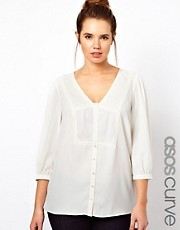 ASOS CURVE Exclusive Blouse With Embroidered V Neck