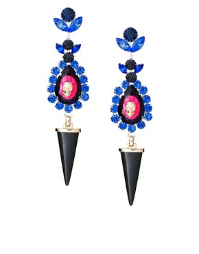 Image 1 ofASOS Statement Set Stone and Horn Drop Earrings