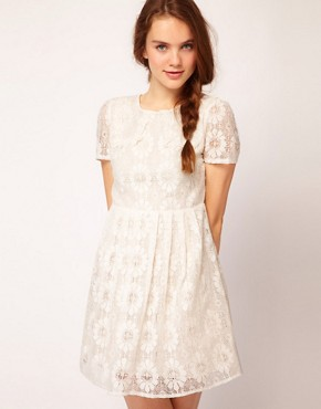 Image 1 ofDahlia Floral Lace Collar Skater Dress