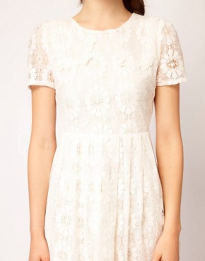 Image 3 ofDahlia Floral Lace Collar Skater Dress