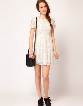 Image 4 ofDahlia Floral Lace Collar Skater Dress