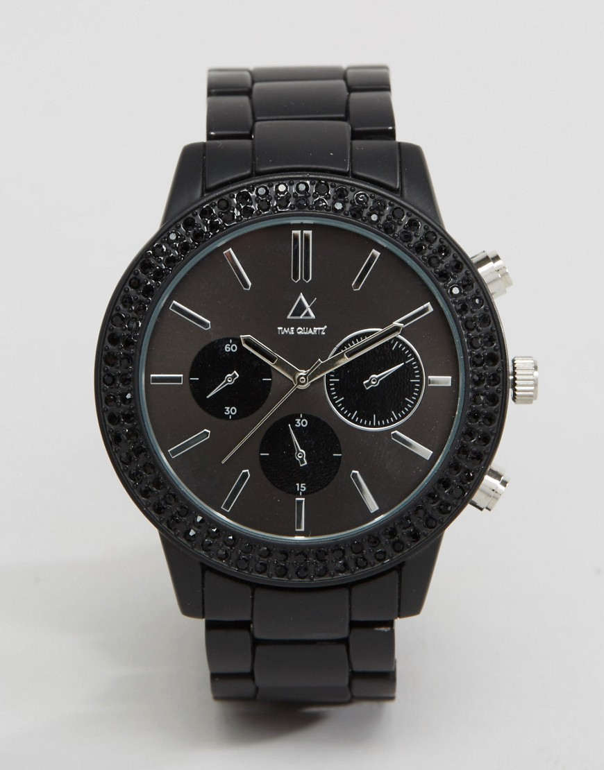 ASOS Bracelet Watch With Black Crystals - Black